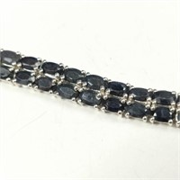$1509 Silver Black Sapphire(21.9ct) Bracelet