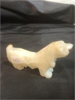 Two Hand Carved Stone Dogs