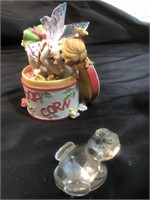 Popcorn Tin Fairie and Glass Turtle
