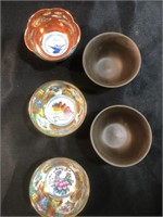 Two Japanese Stone Sake Cups and Three Porcelain