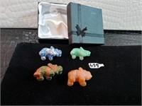 Carved Stone Animals with Original Box