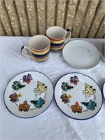 Decorative plate set with water pitcher w/cups