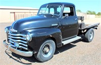 1948 Chev Thriftmaster Pickup, ¾-ton, 350 eng, 350 auto trans w/shift kit, flatbed (needs new boards), running boards, has title.  NOTE: This item will be sold at live auction, however absentee bids can be placed if you are unable to attend the auction. More details, video & pictures can be viewed by clicking the catalog tab and view Lot #2. Video available!