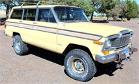 1979 Jeep Wagoneer, 360 V8 gas eng, auto trans, full time 4x4, runs, 87,999 mi, has title.  NOTE: This item will be sold at live auction, however absentee bids can be placed if you are unable to attend the auction. More details, video & pictures can be viewed by clicking the catalog tab and view Lot #27.  Video available!