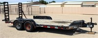 """2004 HMD Flatbed, 2-axle (50000 lb), bumper-pull, 81"""" x 16', has title.  NOTE: This item will be sold at live auction, however absentee bids can be placed if you are unable to attend the auction. More details & pictures can be viewed by clicking the catalog tab and view Lot #6."""