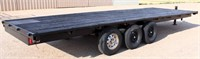 1976 HMD Flatbed, 3-axle, bumper-pull, 8' x 24', new paint, has title. NOTE: This item will be sold at live auction, however absentee bids can be placed if you are unable to attend the auction. More details & pictures can be viewed by clicking the catalog tab and view Lot #7.
