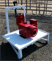 Generator, pto operated, 15kw, on 3-pt platform.  NOTE: This item will be sold at live auction, however absentee bids can be placed if you are unable to attend the auction. More details, video & pictures can be viewed by clicking the catalog tab and view Lot #10.  Video available!