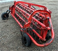 Side Delivery Rake, 3-pt, pto.  NOTE: This item will be sold at live auction, however absentee bids can be placed if you are unable to attend the auction. More details & pictures can be viewed by clicking the catalog tab and view Lot #22.