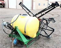 John Deere Field Sprayer w/Booms, Handgun, 3-pt, pto, 110 gal tank, good working order.  NOTE: This item will be sold at live auction, however absentee bids can be placed if you are unable to attend the auction. More details & pictures can be viewed by clicking the catalog tab and view Lot #25.
