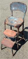 Vintage Metal High Chair w/Steps