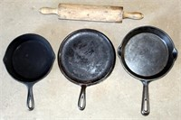 Cast Iron Skillets, Rolling Pin
