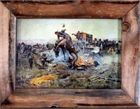 """Framed Print - Charles Russell """"Camp Cooks Trouble (view 1)"""