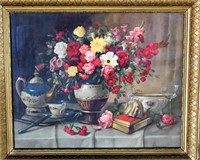 Framed Print, Tea Pot/Flowers by A Fabenlisky