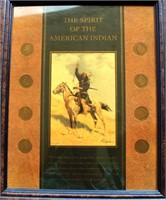 """Framed """"Spirit of The American Indian"""" w/Indian Head Cents"""