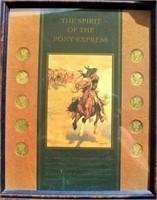 "Framed ""Spirit of the Pony Express"" w/Mercury Dimes"