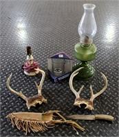 Rockies Mug, Lantern, Antlers, Cast Iron Lamp, Knife