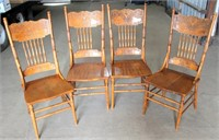 (4) Oak Spindle Back Kitchen Chairs