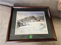 """MATTED WINTER SCENES IN WOOD FRAMES, 18"""" X 16"""""""