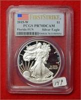 2015 W American Eagle PCGS PR70DCAM 1 Oz Silver