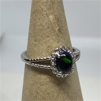 STERLING SILVER GREEN CAB RING