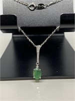 STERLING SILVER EMERALD DROP NECKLACE