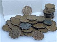 """QTY 1 """"ROLL"""" 50 UNSEARCHED WHEAT PENNIES"""