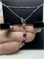STERLING SILVER RUBY DROP NECKLACE