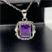 STERLING SILVER BRIGHT URPLE NECKLACE