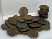 "QTY 1 ""ROLL"" 50 UNSEARCHED WHEAT PENNIES"