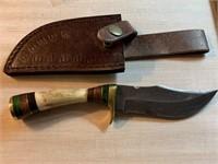 DAMASCUS STEEL FIXED BLADE KNIFE W SHEATH