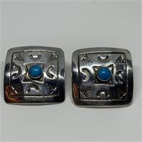 STERLING SILVER TAXCO TURQUOISE EARINGS