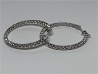 2PC STERLING SILVER INS AND OUTS EARRINGS