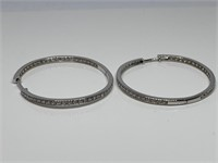 2PC STERLING SILVER INS & OUTS HOOP EARRINGS