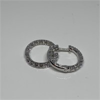 STERLING SILVER INS AND OUTS THICK HOOP EARRINGS