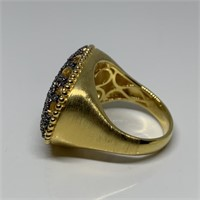 STERLING SILVER SCROLL FILIGREE VERMEIL RING