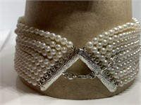 STERLING SILVER PEARL CHOKER NECKLACE