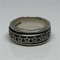 STERLING SILVER STAR THEMED BANDED RING