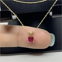 14K GOLD & RUBY PENDANT & CHAIN