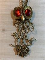 LARGE VTG MID CENTURY OWL NECKLACE