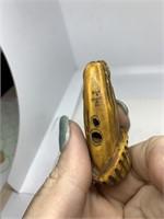 VTG NETSUKE FROG ON PHALLIC SHAPED MUSHROOM SIGNED