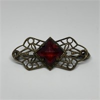 ANTIQE VICTORIAN RED STONE BROOCH