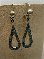 STERLING SILVER STONE INLAY DROP EARRINGS