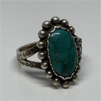 VTG STERLING SILVER TURQUOISE N. AMERICAN RING