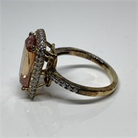 STERLING SILVER ORANGE FACETED STONE RING