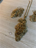 3PC STERLING SILVER EARRINGS & NECKLACE SET