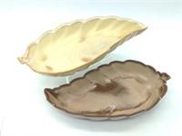 (2) Frankoma 225 - 9inch Long Leaf Dishes