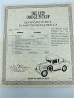 1929 Dodge Pickup Die Cast Replica