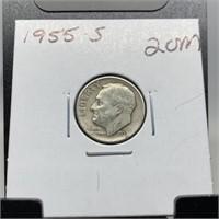 1955-S MERCURY SILVER DIME