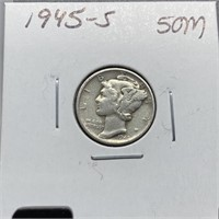 1945-S MERCURY SILVER DIME