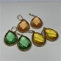 3PC FACETED STONE EARRINGS